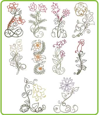 Art Deco Floral Designs LindeeG Embroidery