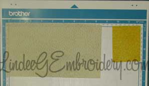 LindeeGEmbroidery-Arranging multiple fabrics on mat