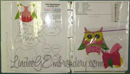 LindeeGEmbroidery-pieces organized in binder