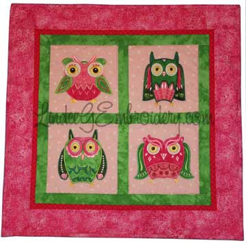 LindeeGEmbroidery-What a Hoot Applique Owls wall hanging