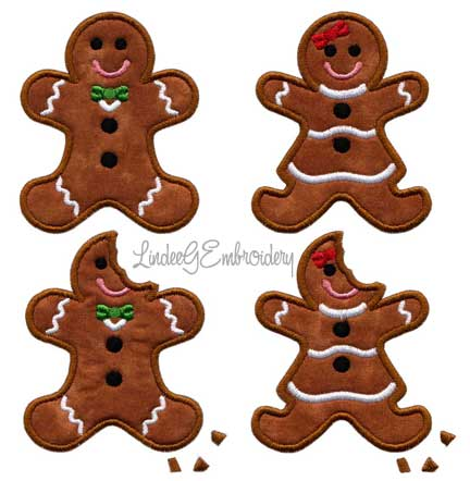 Gingery Christmas applique designs from LindeeGEmbroidery