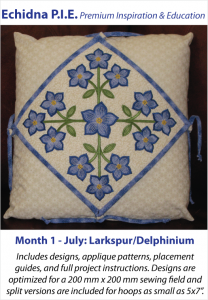Quick Change Pillow, Month 1 project for Echidna P.I.E. by Lindee Goodall, Lindee G Embroidery