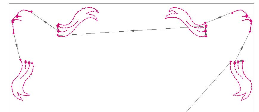 Jumps are required in run stitch designs when segments aren't connected