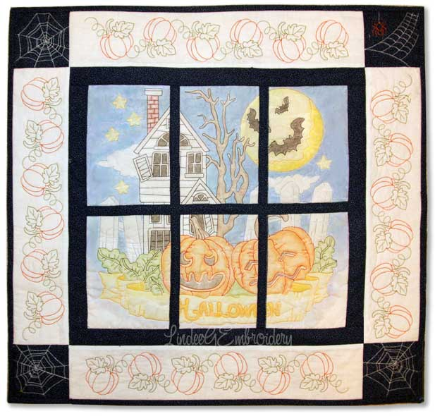 Halloween Quilted & Colored Mini-quilt from LindeeGEmbroidery