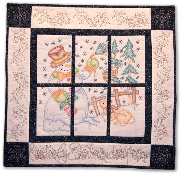 Winter Friends Quilted & Colored wall-hanging by Lindee G Embroidery