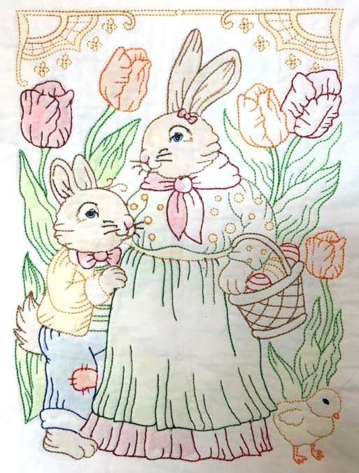 Mama Bunny & Son from Vintage Easter Bunnies by Lindee G Embroidery colored with PrismaColor and only fixed on left side