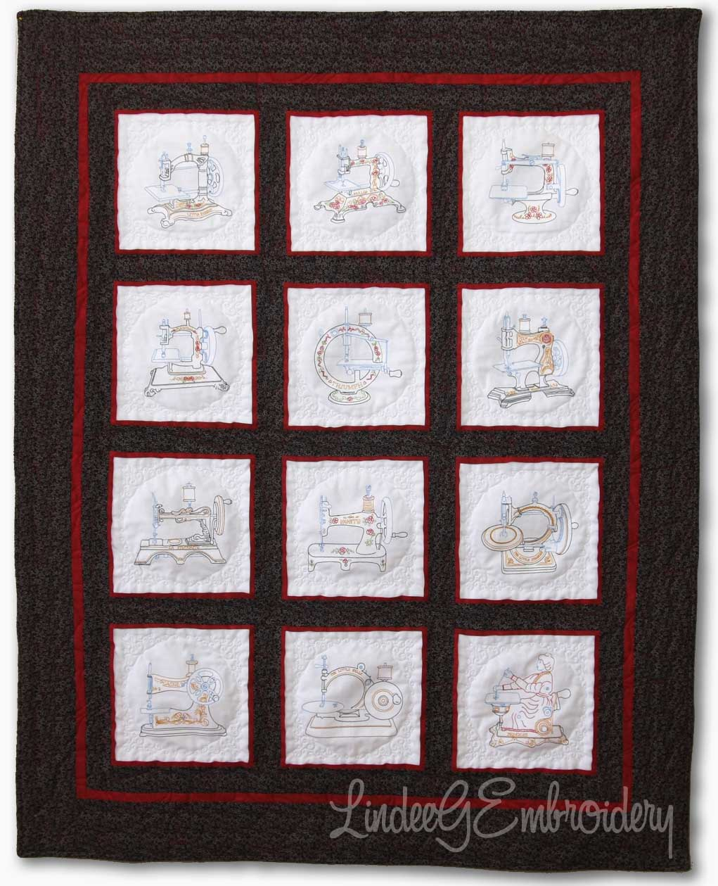 Quilt with all 5x7 colored versions of the Vintage Miniature Sewing Machines designs