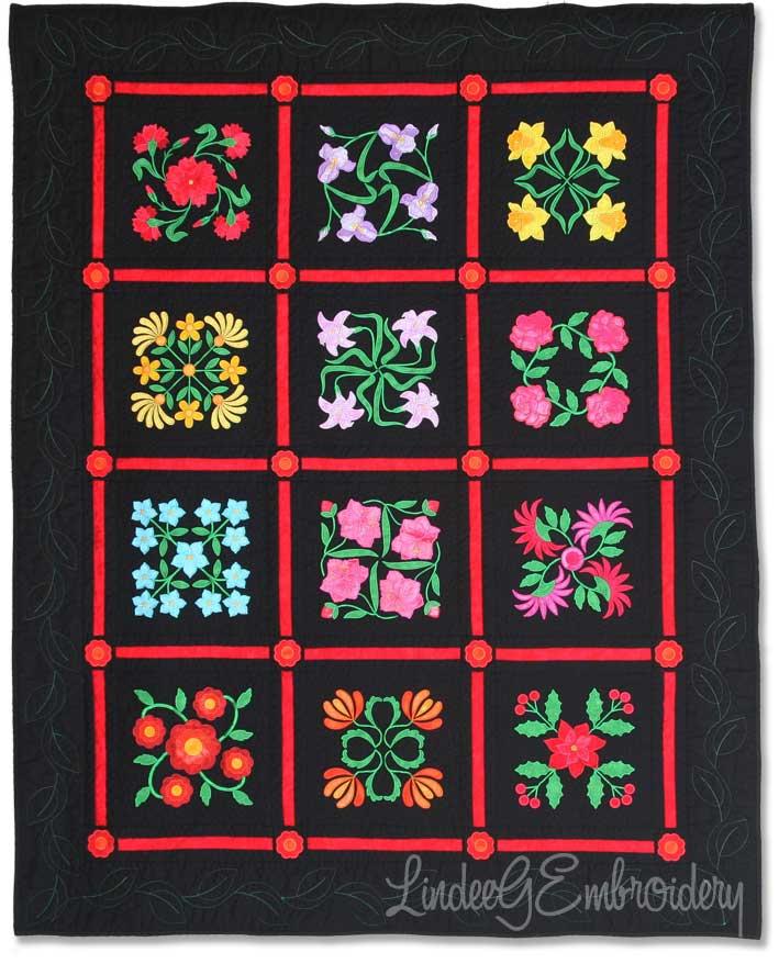 Birth Month Flowers of the Year Aussie Quilt, black