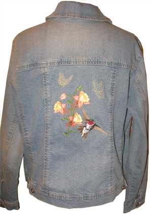 Craftsy denim jacket with columbine, butterflies, hummingbird