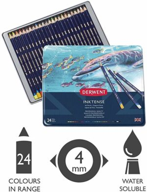 Derwent Inktense Colored Pencils, Metal Tin, 24 Count