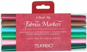 Tsukineko Dual-Ended Fabrico Marker Color-Fast, 6-Piece Set