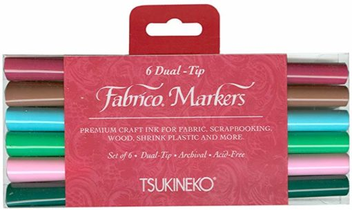 Tsukineko Dual-Ended Fabrico Marker Color-Fast, 6-Piece Set