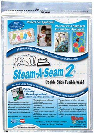 Steam-A-Seam 2 Double Stick Fusible Web-9″X12″ 5/Pkg(2 Pack)