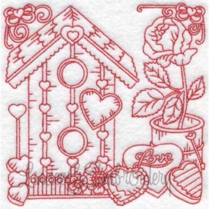 (lgs10305) Birdhouse with Hearts & Rose (Multi-size)