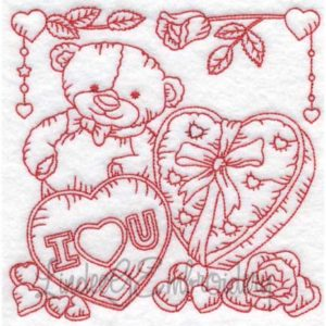 (lgs10308) Bear with Hearts & Roses (Multi-size)