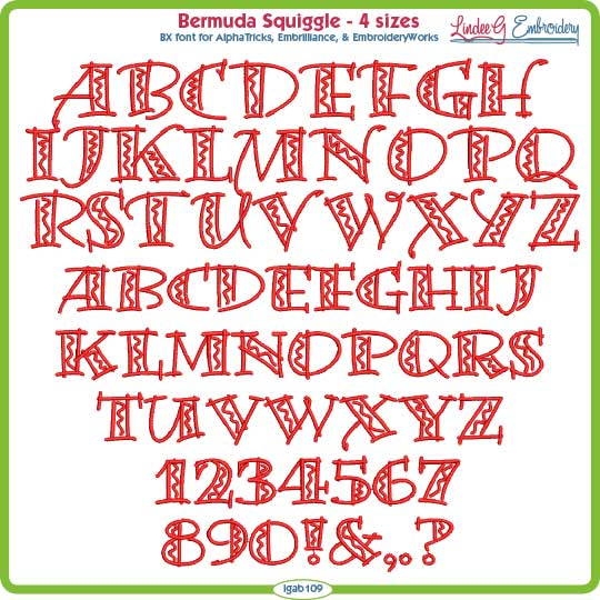 Bermuda Squiggle Embroidery Font