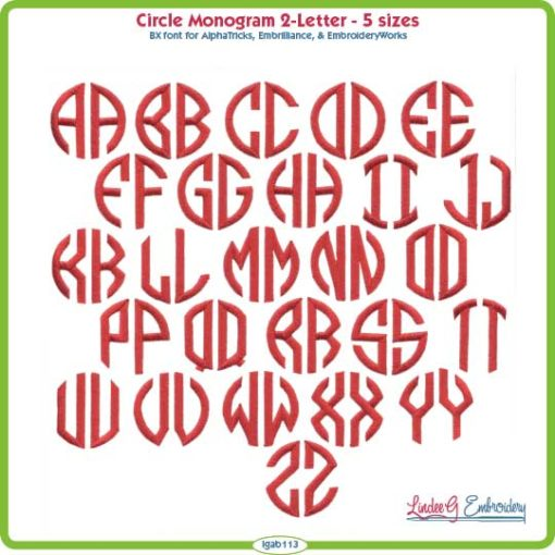 2-Letter Circle Monogram Embroidery Font