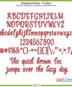 Etiquette Embroidery Font
