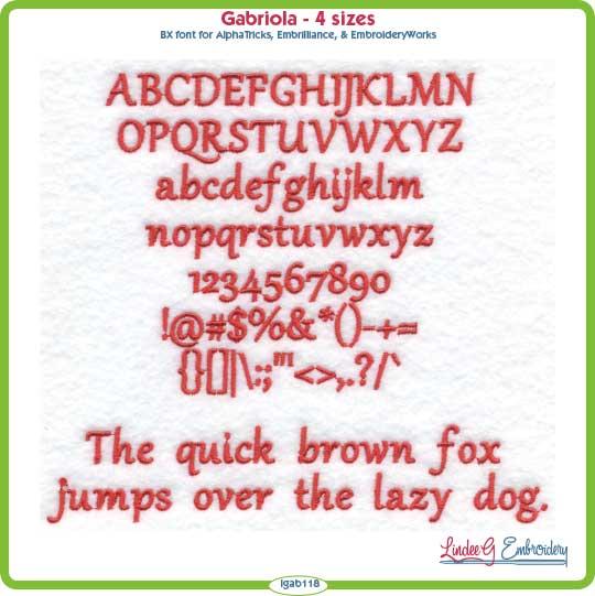 Gabriola Embroidery Font