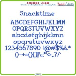 Snacktime Embroidery Font