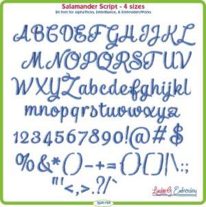 Salamander Script Embroidery Font