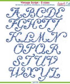 Vintage Script Embroidery Font