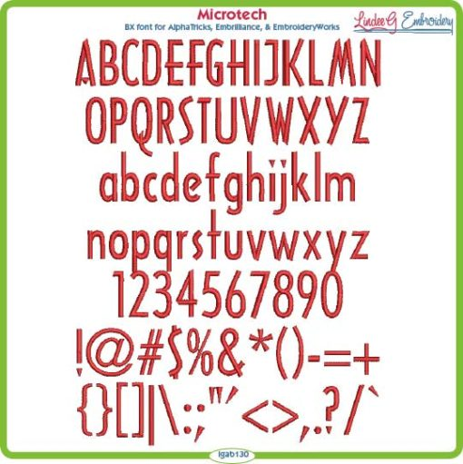 Microtech Embroidery Font