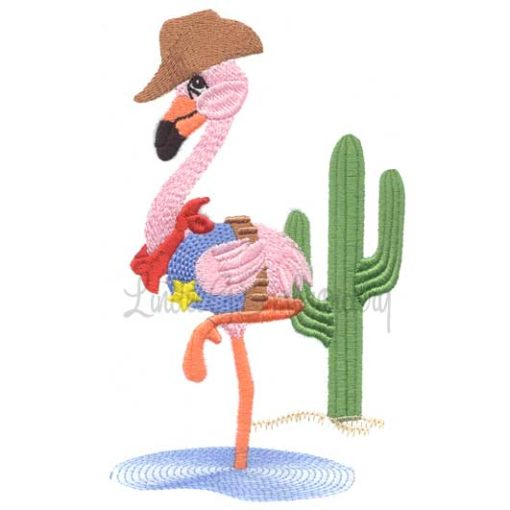 Flamingo with Cactus (4.4 x 7.2-in)
