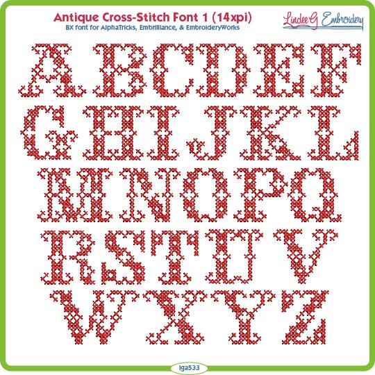 Antique Cross Stitch Font (~1-in)