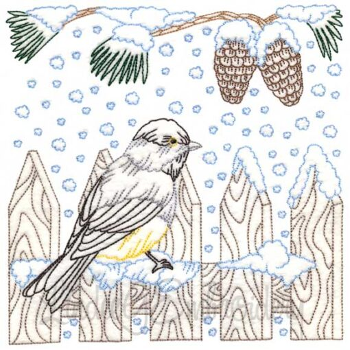 Chickadee with Snow 4