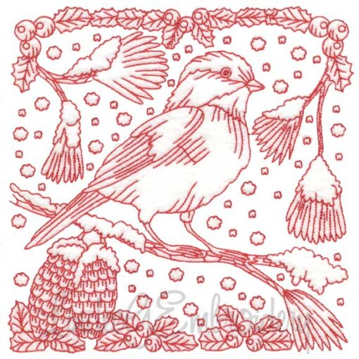 Chickadee with Snow 3 Redwork