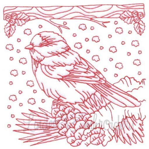 Chickadee with Snow 5 Redwork