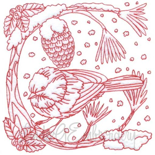 Chickadee with Snow 6 Redwork