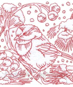 Chickadees with Snow 7 Redwork