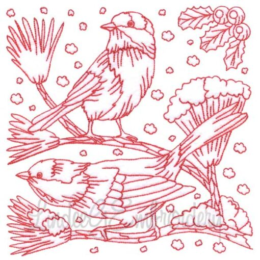 Chickadee with Snow 9 Redwork