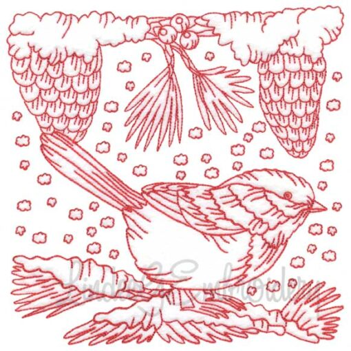 Chickadee with Snow 10 Redwork