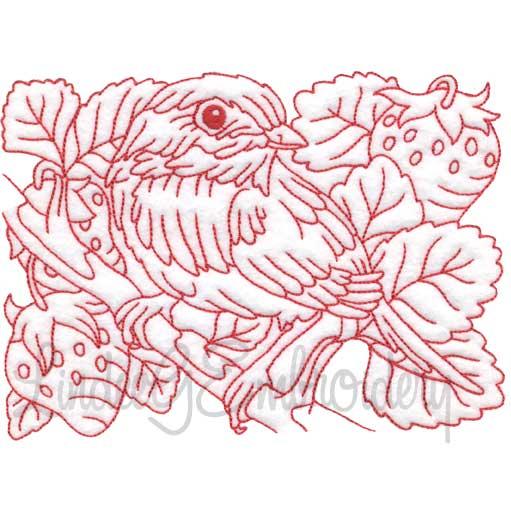 Bird with Strawberries Redwork