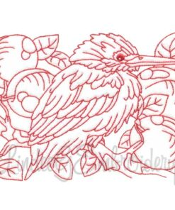 Bird with Plums Redwork