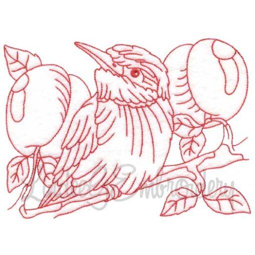 Bird with Peaches Redwork
