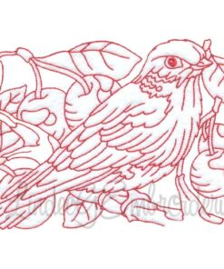 Bird with Cherries Redwork