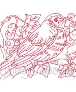 Bird with Berries Redwork
