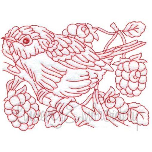 Bird with Raspberries Redwork