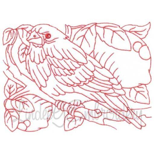 Bird with Lemons Redwork