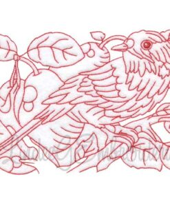 Bird with Pears Redwork