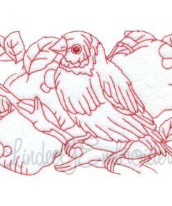 Bird with Apples Redwork