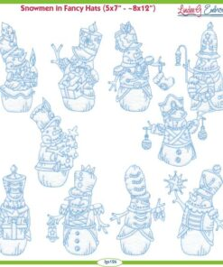 Snowman in Fancy Hats (4 sizes)