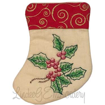 Holly Stocking (4.6 x 5.9-in)