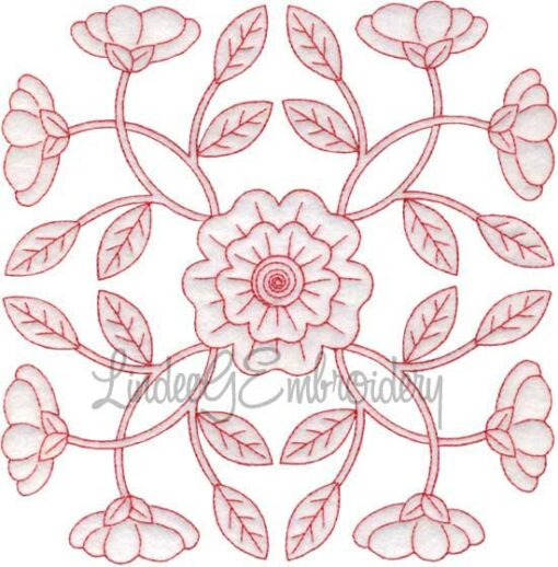 Primrose Redwork (February) (6.8-in)