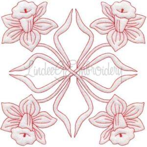 Daffodil Redwork (March) (6.8-in)