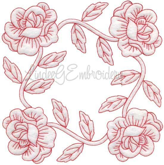 Rose Redwork (June) (6.8-in)